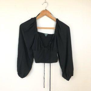 Wild Fable Romantic Black Crop Top Blouse Size XS
